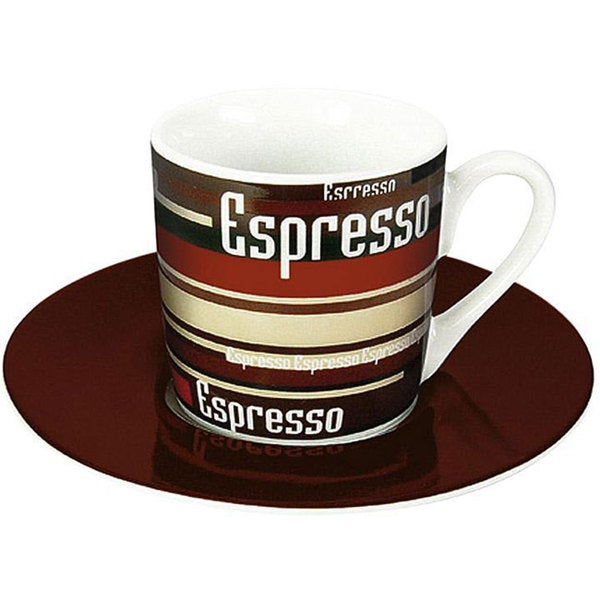 Konitz Espressos Coffee Stripes Cups and Saucers (Set of 4) 8005365