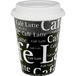 Konitz Cafe Latte Writing On Black Travel Mugs (Set of 4)