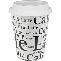 Konitz Cafe Latte Writing On White Travel Mugs (Set of 4)