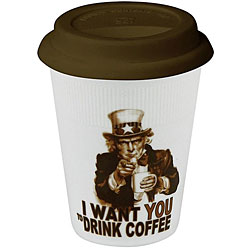 Konitz Drink Coffee Uncle Sam Travel Mugs (Set of 4)