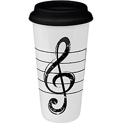 Konitz Treble Clef on White Large Travel Mugs (Set of 4)