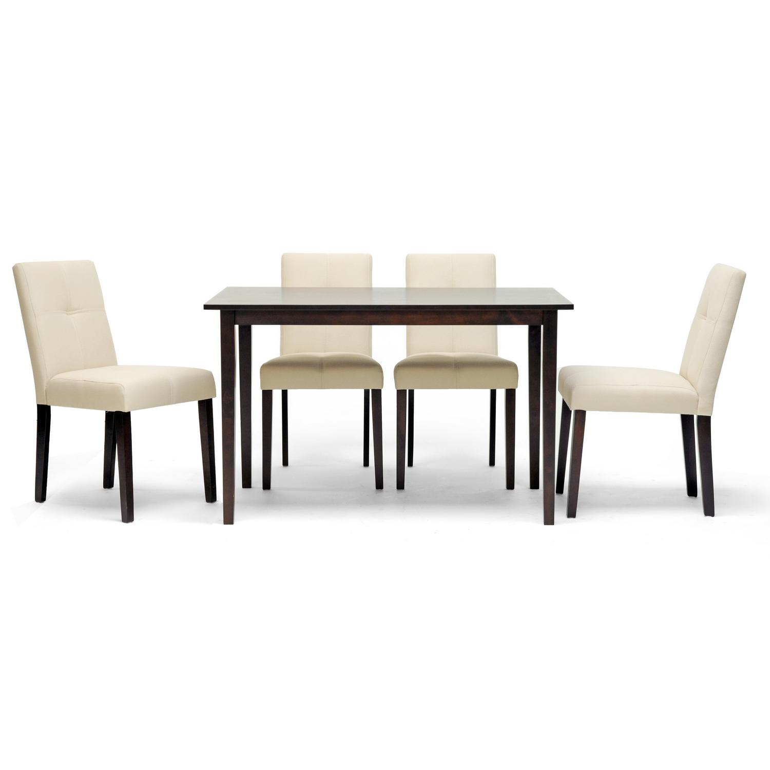 Baxton studio elsa brown wood 5 piece modern dining set for Contemporary dining set