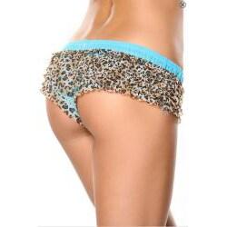 Donna di Capri Panty Party Collection Turquoise Multi-leopard Ruffle Mesh Boxer