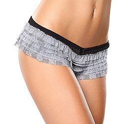 Donna di Capri Black Multi-plaid Printed Mesh Ruffle Boxer