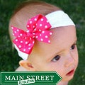 Pink and White Bow and Small Polyester Headband
