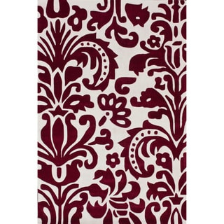 nuLOOM Hand-tufted Pino Tribal Damask Red Rug (3'6 x 5'6)