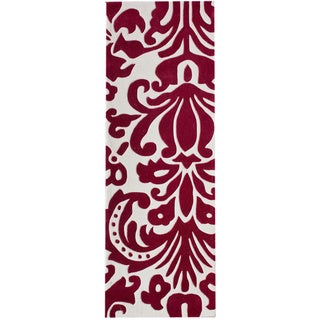 nuLOOM Hand-tufted Pino Tribal Damask Red Rug (2'6 x 8')