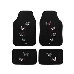 Automotive 4-piece Butterfly Embroidered Floor Mat Set