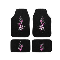 Automotive 4-piece Daisy Embroidered Floor Mat Set