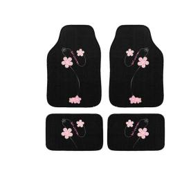 Automotive 4-piece Pink Flowers Embroidered Floor Mat Set