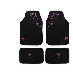 Automotive 4-piece Hearts Embroidered Floor Mat Set