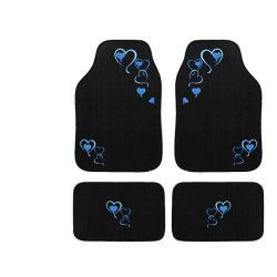 Automotive 4-piece Blue Hearts Embroidered Floor Mat Set