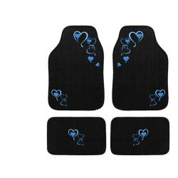 Automotive 4-piece Blue Hearts Embroidered Floor Mat Set