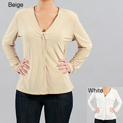 Clara S Women's Long Sleeve V-neck Buttoned Blouse