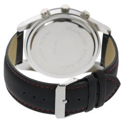 Geneva Platinum Men's Water-Resistant Chronograph-Style Genuine Leather Watch