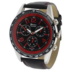 Geneva Platinum Men's Water-Resistant Chronograph-Style Genuine Leather Watch