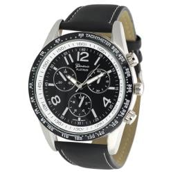 Geneva Platinum Men's Chronograph-style Genuine Leather Watch