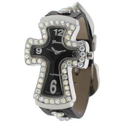Geneva Platinum Women's Water-Resistant Rhinestone-Accented Cross Watch