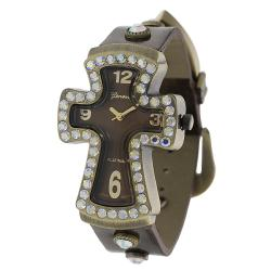 Geneva Platinum Women's Rhinestone-accented Cross Watch