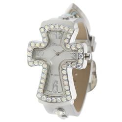 Geneva Platinum Women's Silvertone Rhinestone-accented Cross Watch