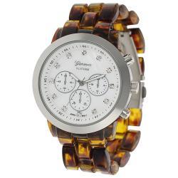 Geneva Platinum Women's Rhinestone-accented Mother of Pearl Link Watch