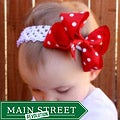 Red and White Polka Dot Detachable Big Bow Headband