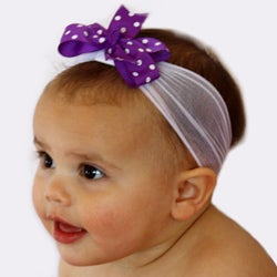 Purple and White Nylon Headband with Detachable Bow