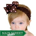 Brown and Pink Polka Dot Detachable Big Bow Headband