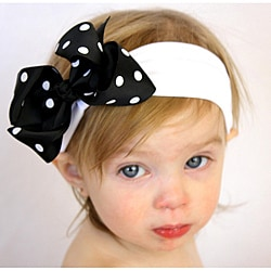 Black and White Polka Dot Detachable Big Bow Headband
