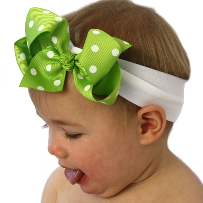 Apple Green and White Polka Dot Detachable Big Bow Headband