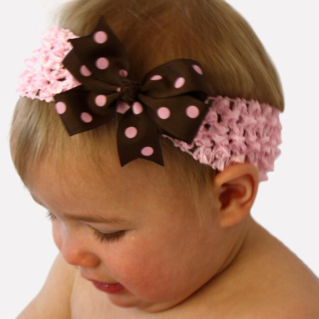 Brown/ Pink Headband and Detachable Bow