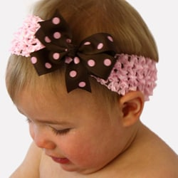 Brown/ Pink Headband and Detachable Bow