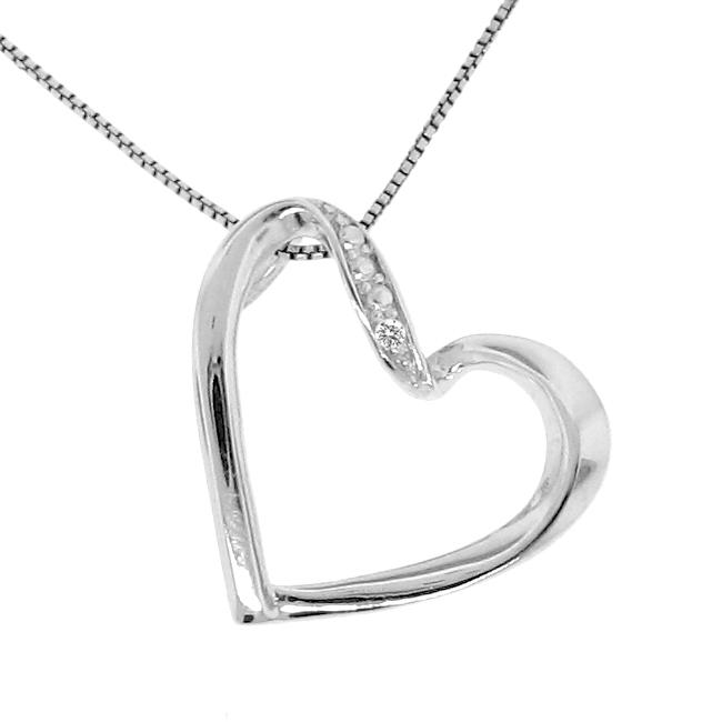 Sterling Silver Diamond Accent Diagonal Heart Necklace