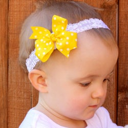 Yellow and White Polka Dot Detachable Bow Headband