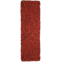 Hand-tied Pelle Red Leather Shag Rug (2'6 x 8')