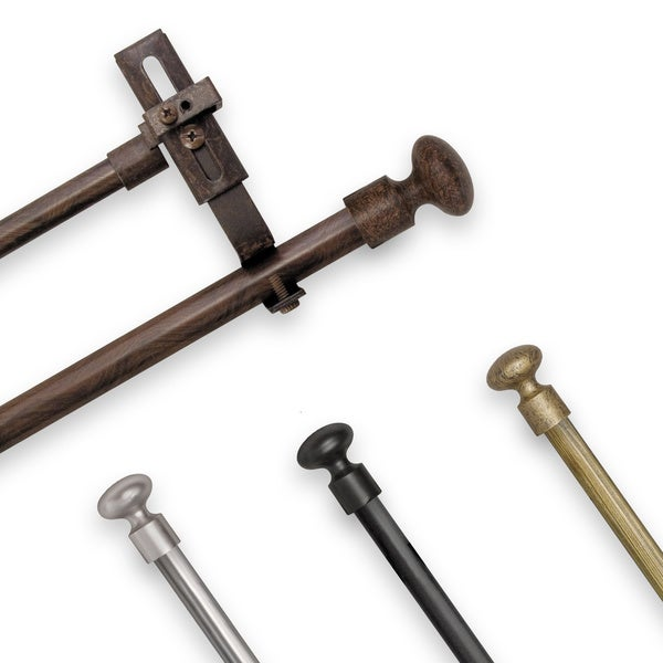 Adjustable Double Curtain Rod Set with Knob Finial
