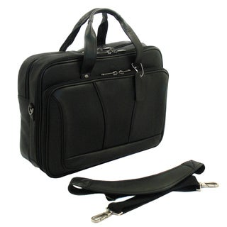Black Leather Double Gusset 15.4-inch Laptop Briefcase