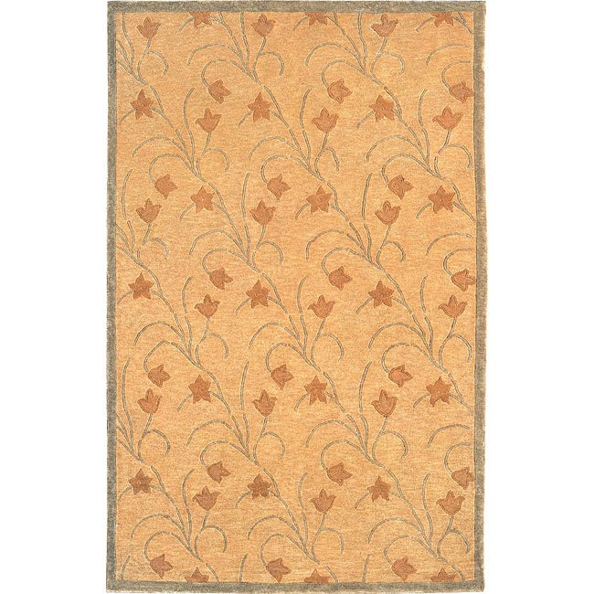 ABBYSON LIVINGHand-knotted 'Oceans of Time' Gold Wool Rug (6' x 9')