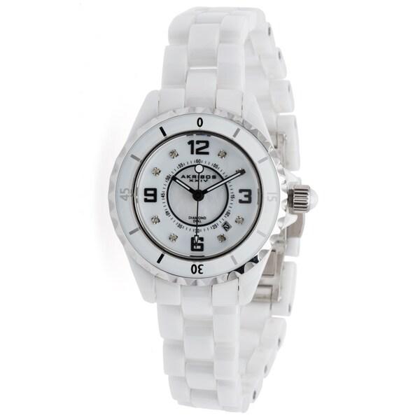 Akribos XXIV Quartz Date Women's Ceramic Casual Bracelet Watch