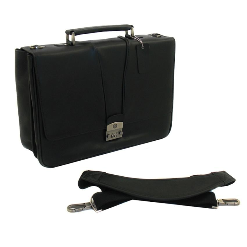 Black Leather 15.4-inch Laptop Briefcase