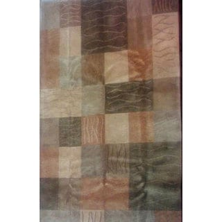 Hand-knotted 'Moments' Green Wool Rug (6' x 9')