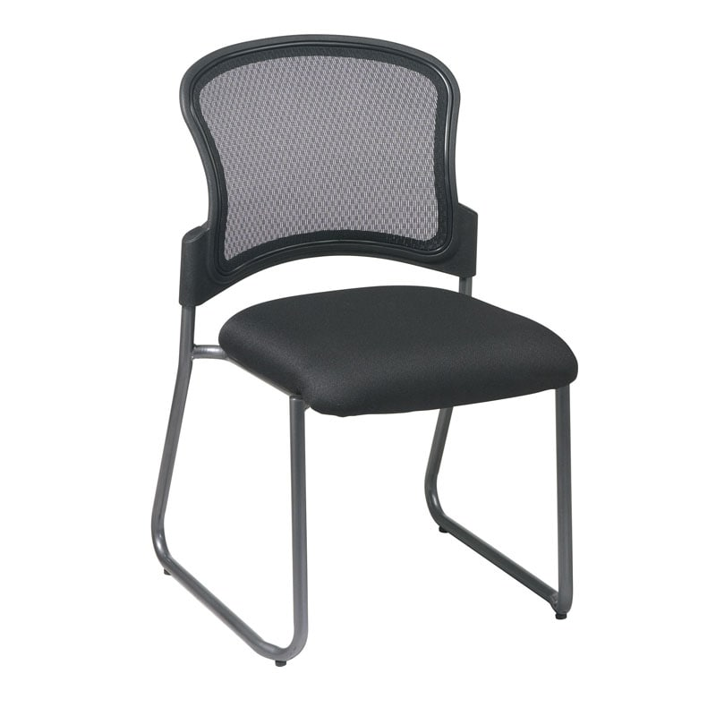 Office Star Visitors Titanium Sled Base Stacking Chair