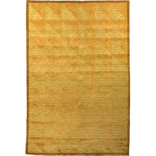 Hand-Knotted 'Oceans of Time' Gold/Burlywood Wool Rug (9' x 12')