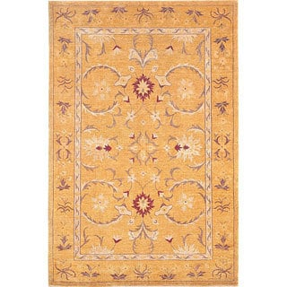 Hand-Knotted 'Harvest Moon' Gold Wool Contemporary Rug (6' x 9')