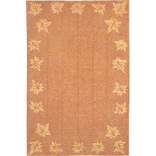 Hand-knotted 'Oceans of Time' Gold Wool Rug (9' x 12')