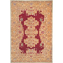 Hand-Knotted 'Memories' Ivory Wool Area Rug (6' x 9')