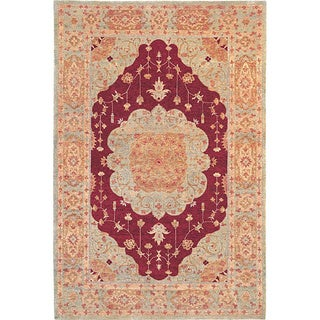 Hand-knotted 'Memories' Ivory Wool Rug (6' x 9')