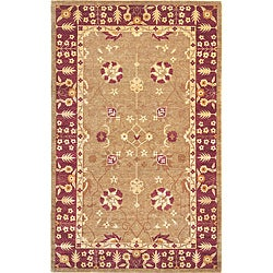 Hand-Knotted 'Harvest Moon' Gold Wool Traditional Rug (6' x 9')