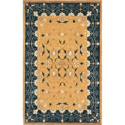 Hand-knotted 'Harvest Moon' Gold Wool Rug (8' x 10')