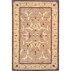 Hand-knotted Ivory/ Brown 'Destiny' Wool Rug (6' x 9')